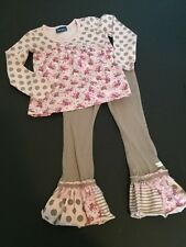 Naartjie Girls Pink Gray Floral Polka Dots Outfit Set Size 3