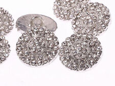 DB11-18s 10pcs Diamante Faceted Crystal Buttons Diamante Silver Rhinestone