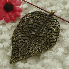 free ship 6 pieces bronze plated leaves pendant 82x49mm #2982