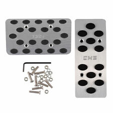 Auto Automatic Car AT Metal Gas Brake Pedal Pad Covers Pedals Silver Tone Black