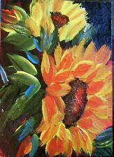 "ACEO ORIGINAL PAINTING Dixie Art Card IMPRESSIONISM ""SUNFLOWER BLUSHING"" ABST"