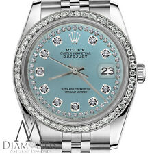 Diamond String Ice Blue Rolex 31mm Datejust Stainless Steel Jubilee Womens Watch