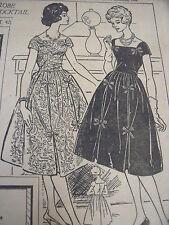 1138(710) ANCIEN PATRON FEMMES D'AUJOURD'HUI ROBE COCKTAIL CHIC T 42 1958