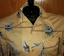 Vtg 70s Sears Kings Road Polyester Gold Floral S/S Shirt Disco Hipster M Medium