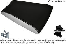 BLACK & WHITE CUSTOM FITS RIEJU RS3 125 REAR PILLION LEATHER SEAT COVER