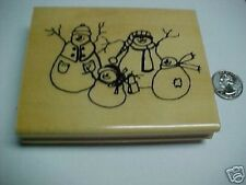 Snowman Family Wood MTD Stamp Scrapbooking NEW