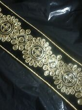 Black Indian Lace Trim Velvet fabric 70mm 7cm wide dressmaking crafts A* Quality