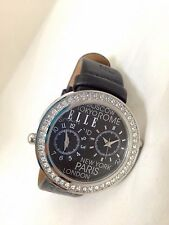 Ladies Jet lag Elle Black Dual Time Watch