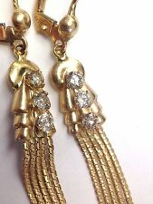 Antique Victorian Style 14K Yellow Gold .75CTW Diamond Long Tassel Earrings