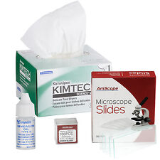 Microscope Immersion Oil 1/4 Oz Type B with Kimwipes, 72 Slides & 100 Coverslips