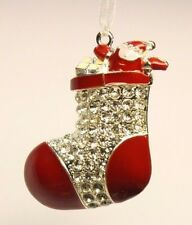 Christmas tree decoration silver santa stocking studded with rhinestones