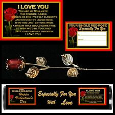 I LOVE YOU RED ROSE ENAMEL SILVER METAL LEAVES VALENTINES DAY ON TUBE GIFT ONE