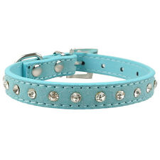 Bling Rhinestone Top Grade Suede Leather Cat Puppy Dog Collars 6 Colors XXS XS S
