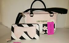 BETSEY JOHNSON Blooming Pearls Blush, Black & White Satchel with matching Wallet