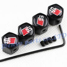 Anti-theft Black Metal Car Wheel Tyre Tire Stem Air Valve Cap For S-line Vehicle