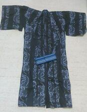Kimono, Yukata Gr.L schwarz, Baumwollkimono aus Japan mit Obi Gürtel