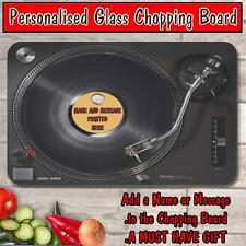 PERSONALISED TECH VINYL RECORD GLASS CHOPPING BOARD HOUSE WARMING GIFT ST781