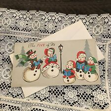 Vintage Greeting Card Christmas Snowman Family Five Of Us Light Post