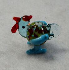a Rooster Cock MINIATURE GLASS FIGURINE blown art mini tiny animal blue