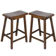 "Gaucho Set of 2 Kitchen 24""H Counter Height Bar Saddle Stools Solid Wood Walnut"