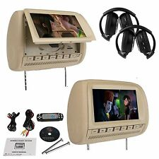 "Beige Tan Pair 9"" HD LCD Headrest In Car DVD Player Wireless Headset Sony Lens"