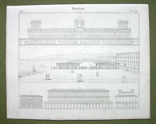 ARCHITECTURE Italy Naples Royal Palace Villa Medici SPada - 1825 Antique Print