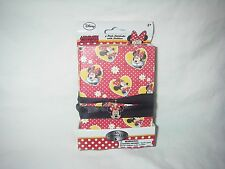 DISNEY MINNIE MOUSE 3 PACK NOTEBOOKS WITH MINNIE RIBBON CHARM NECKLACE NEW