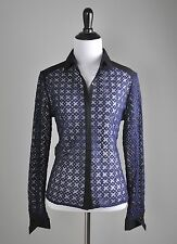 ANNE FONTAINE NWT $395 Sirielle Sheer Embroidered Navy Shirt Top Size 40