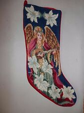 Vtg Completed Wool Needlepoint Christmas Stocking GIFT~Angel Flowers Music