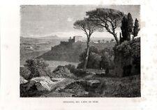 Stampa antica GENZANO sul Lago di Nemi Campagna di Roma 1876 Old print