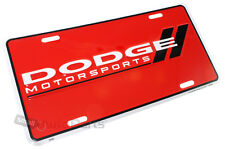 NEW!!! DODGE MOTORSPORTS LICENSE PLATE ALUMINUM STAMPED EMBOSSED METAL RED TAG