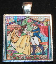 Disney Princess Beauty and the Beast Stained Belle Love Jewelry Pendant Necklace