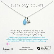 "Dogeared Every Drop Counts Surfrider Sterling Silver 18"" Necklace NEW"