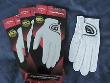 3 CALLAWAY MEDIUM FOR LEFT HAND GOLFER DAWN PATROL LEATHER GOLF GLOVES NEW MENS