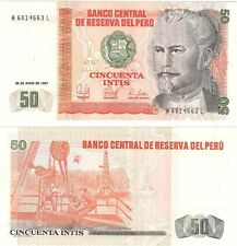 Peru 50 Intis 1987 P-131b NEUF UNC Uncirculated Banknote - Oil Workers