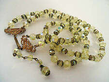 Vintage 1950's Two Strand Green A/B Crystal Necklace With Decorative Clasp