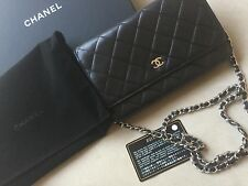 CHANEL CC Quilted Wallet on a Chain WOC Black 100 % Authentic Black Lamb skin