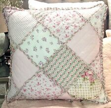 Tara Euro Pillow Cushion Sham Case Cover Pink Patchwork Shabby Chic