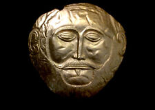 Mask of Agamemnon Ancient Greek sculpture gold painted relief