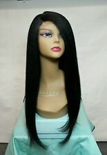 Lace Front Wig, Yaki texture,, curling iron safe, color : number 1B off Black