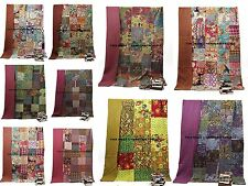 10 PC Lot Kantha Quilt Twin Size Bedsheet Indian Patchwork Cotton Bedcover Throw