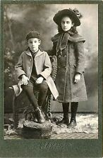 ANTIQUE VICTORIAN CABINET PHOTO PORTRAIT OF BOY AND GIRL, BROTHER ANS SISTER