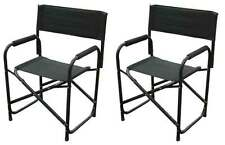 Directors Chairs Standard Height Folding Chair Black Aluminum - 2 PACK