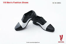 "VERYCOOL Model 1:6 Scale Black+White Leather Man Shoes F 12"" Male Action Figure"
