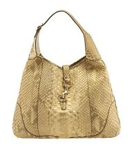 Gucci Jackie Gold Python Large Shoulder Bag