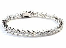 EXQUISITE CZ TRIANGLES TENNIS BRACELET. 925 STERLING SILVER (7.25-inch Length)