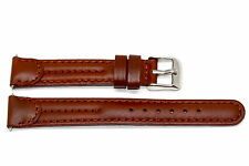 14MM BROWN STITCHED PADDED LEATHER WATCH BAND STRAP FITS BATTALION