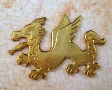 Large Solid Raw Brass Dragon Stamping (1) - S6766