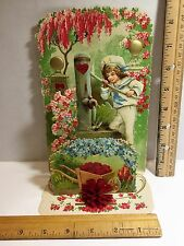 Vintage Valentine, Child at water pump ,fold down, honeycomb, 3-D, mint, RARE