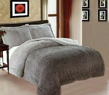 "Jumbo king 3 piece faux fur bed set  2"" thick fur n sherpa 2 side  Grey 89 x 80"